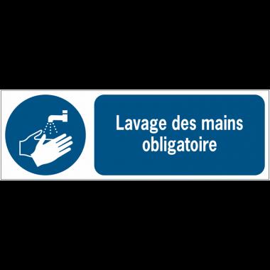 Panneaux ISO 7010 horizontaux Lavage des mains obligatoire - M011