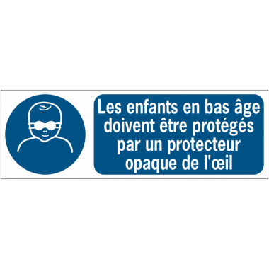 Panneaux ISO 7010 horizontaux Protection opaque des yeux obligatoire pour les enfants en bas âge - M025