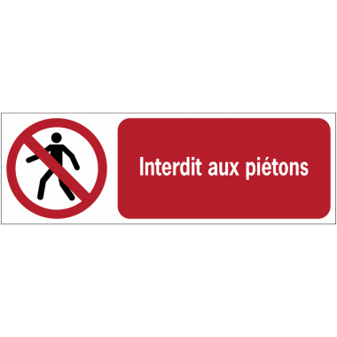 Panneaux ISO 7010 horizontaux Interdit aux piétons - P004