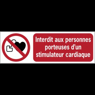 Panneaux ISO 7010 horizontaux Interdit aux personnes porteuses d'un stimulateur cardiaque - P007