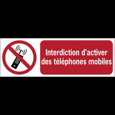 Panneaux ISO 7010 horizontaux Interdiction d'activer des téléphones mobiles - P013
