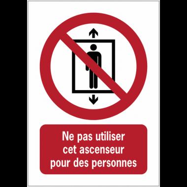 Panneaux NF EN ISO 7010 A3/A4/A5 Ne pas utiliser cet ascenseur pour des personnes - P027