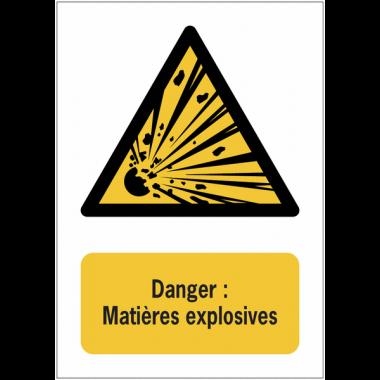 Panneaux NF EN ISO 7010 A3/A4/A5 Danger Matières explosives - W002