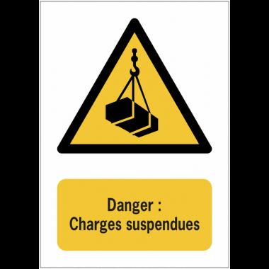 Panneaux NF EN ISO 7010 A3/A4/A5 Danger Charges suspendues - W015