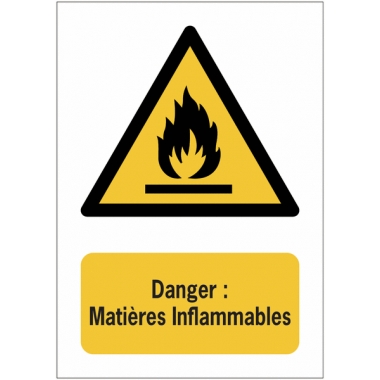 Panneaux NF EN ISO 7010 A3/A4/A5 Danger Matières Inflammables - W021