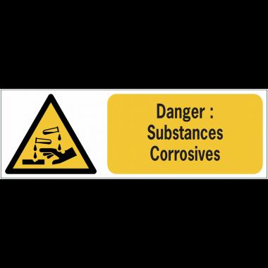 Panneaux ISO 7010 horizontaux Danger Substances corrosives - W023