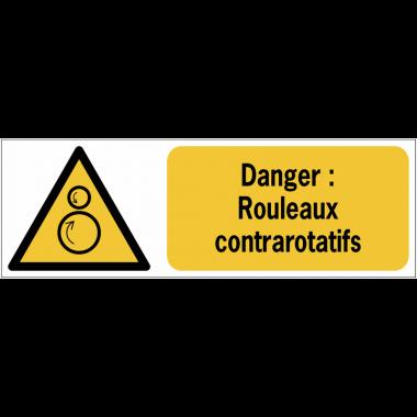 Panneaux ISO 7010 horizontaux Danger Rouleaux contrarotatifs - W025