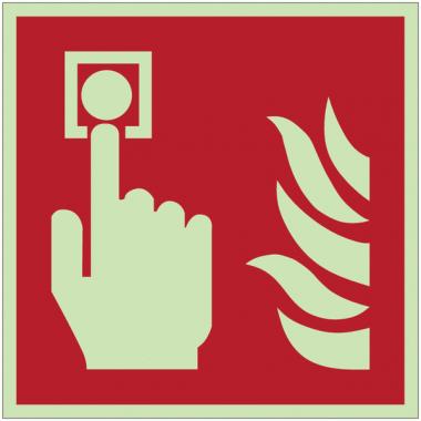 Pictogrammes 3D en aluminium photoluminescents NF EN ISO 7010 Point d'alarme incendie