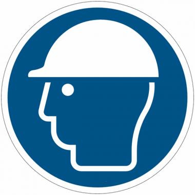"""Panneaux autocollants ISO 7010 Quick-Fix """"Casque de protection obligatoire"""""""