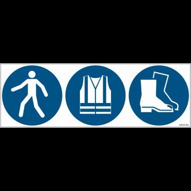 Pictogrammes ISO 7010 Passage, gilet et chaussures obligatoires