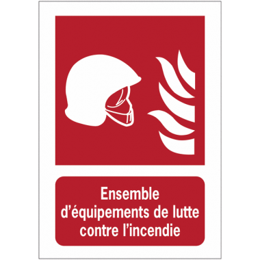 Panneau EN ISO 7010:2012 en aluminium avec message - Ensemble d'équipements de lutte contre l'incendie - F004B