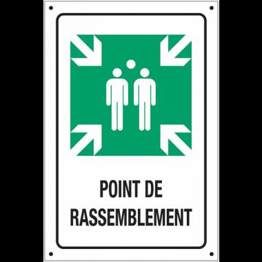 """Panneaux en aluminium prépercé """"Point de rassemblement"""" ISO 7010 avec texte"""