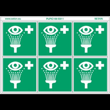 """Pictogrammes en planche NF EN ISO 7010 """"Equipement de rinçage des yeux"""" E011"""
