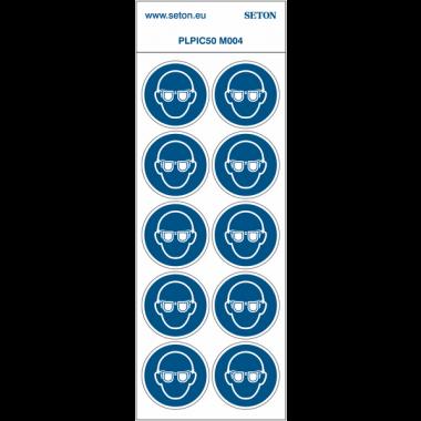 """Pictogrammes en planche NF EN ISO 7010 """"Lunettes de protection obligatoires"""" M004"""
