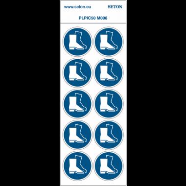 """Pictogrammes en planche NF EN ISO 7010 """"Chaussures de sécurité obligatoires"""" M008"""