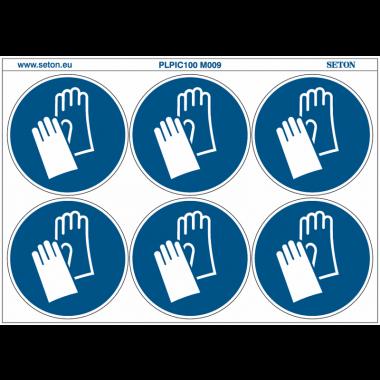 """Pictogrammes en planche NF EN ISO 7010 """"Gants de protection obligatoires"""" M009"""