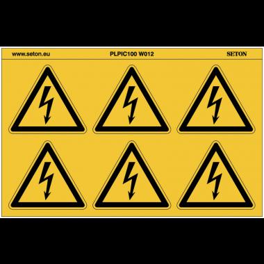 """Pictogrammes en planche NF EN ISO 7010 """"Danger Electrique"""" W012"""