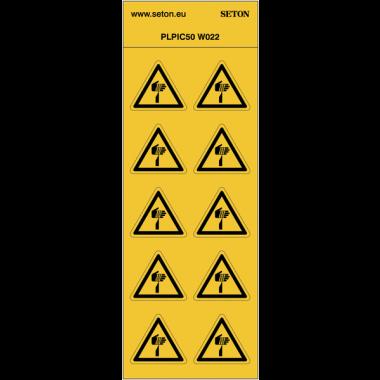 """Pictogrammes en planche NF EN ISO 7010 """"Danger Eléments pointus"""" W022"""
