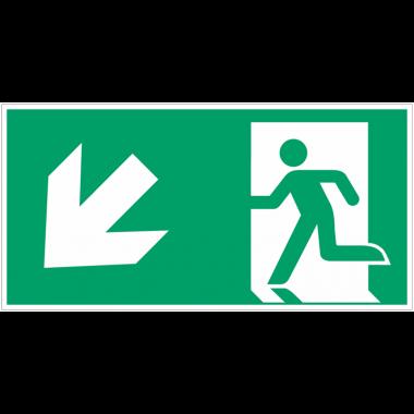 """Autocollants et panneaux avec fléchage NF EN ISO 7010 """"Homme qui court à gauche, flèche 45° vers le bas"""" - E001"""