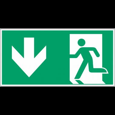 """Autocollants et panneaux avec fléchage NF EN ISO 7010 """"Homme qui court à gauche, flèche vers le bas"""" - E001"""