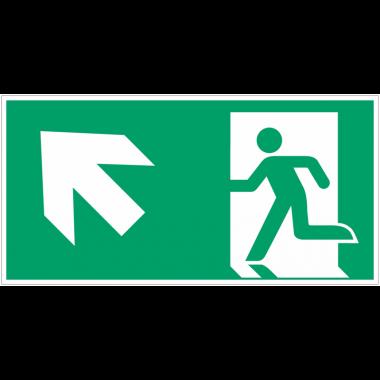 """Autocollants et panneaux avec fléchage NF EN ISO 7010 """"Homme qui court à gauche, flèche 45° vers le haut"""" - E001"""