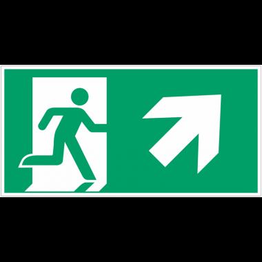 """Autocollants et panneaux avec fléchage NF EN ISO 7010 """"Homme qui court à droite, flèche 45° vers le haut"""" - E002"""