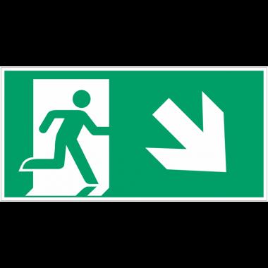 """Autocollants et panneaux avec fléchage NF EN ISO 7010 """"Homme qui  court à droite, flèche 45° vers le bas"""" - E002"""