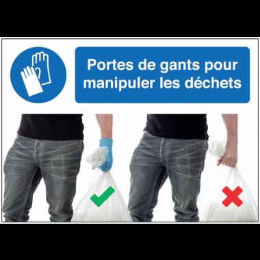 Autocollants et panneaux  bonnes pratiques - Portez des gants pour manipuler les déchets