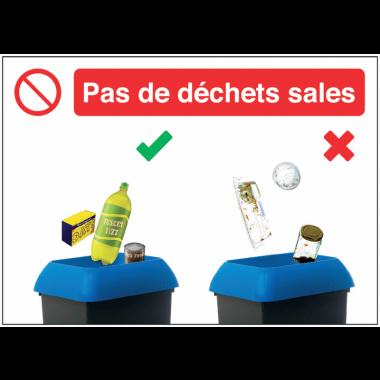 Autocollants et panneaux bonnes pratiques - Pas de déchets sales