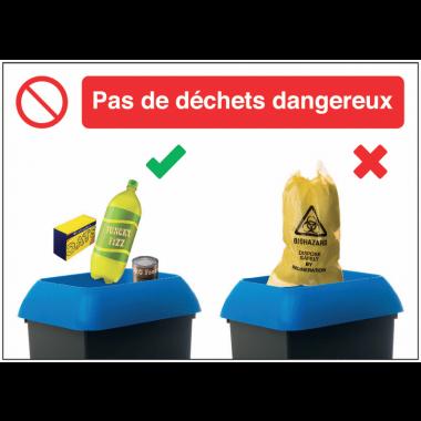 Autocollants et panneaux bonnes pratiques - Pas de déchets dangereux