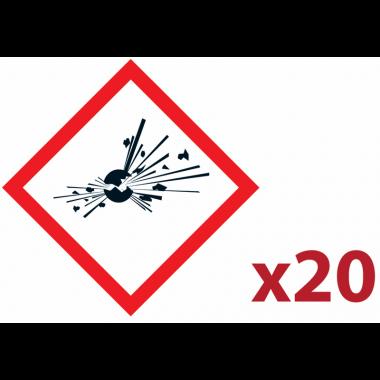 """Pack 20 pictogrammes CLP """"Matières explosives"""""""