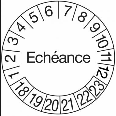 Pastilles calendrier rondes avec texte en polyoléfine ultra-destructible