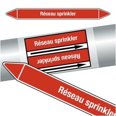 """Marqueurs de tuyauteries CLP """"Réseau sprinkler"""" (Incendie)"""