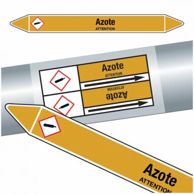 "Marqueurs de tuyauteries CLP ""Azote"" (Gaz)"