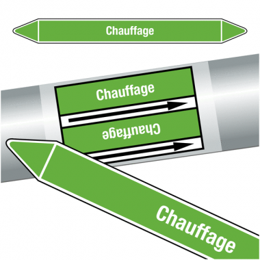 """Marqueurs de tuyauteries CLP """"Chauffage"""" (Eau)"""