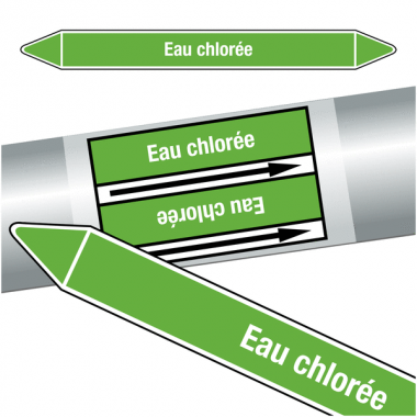 """Marqueurs de tuyauteries CLP """"Eau chlorée"""" (Eau)"""