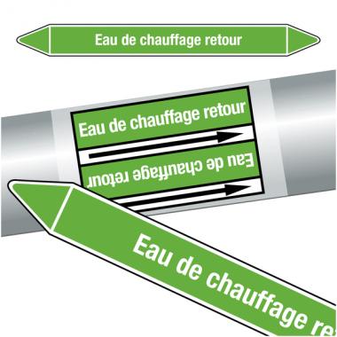 """Marqueurs de tuyauteries CLP """"Eau de chauffage retour"""" (Eau)"""