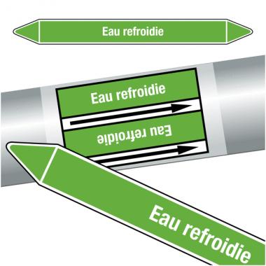 """Marqueurs de tuyauteries CLP """"Eau refroidie"""" (Eau)"""