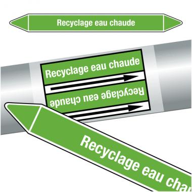 """Marqueurs de tuyauteries CLP """"Recyclage eau chaude"""" (Eau)"""
