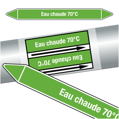 """Marqueurs de tuyauteries CLP """"Eau chaude 70°C"""" (Eau)"""