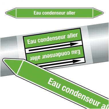 "Marqueurs de tuyauteries CLP ""Eau condenseur aller"" (eau)"
