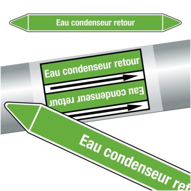 """Marqueurs de tuyauteries CLP """"Eau condenseur retour"""" (Eau)"""