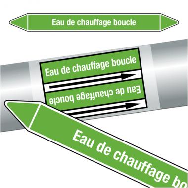 """Marqueurs de tuyauteries CLP """"Eau de chauffage boucle"""" (Eau)"""