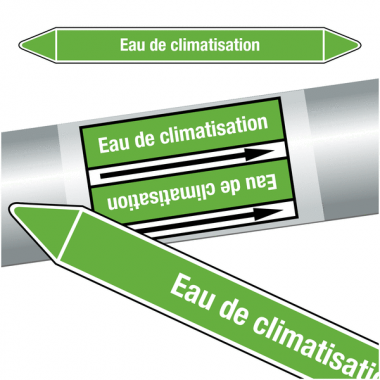 """Marqueurs de tuyauteries CLP """"Eau de climatisation"""" (Eau)"""