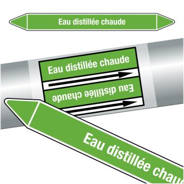 "Marqueurs de tuyauteries CLP ""Eau distillée chaude"" (Eau)"