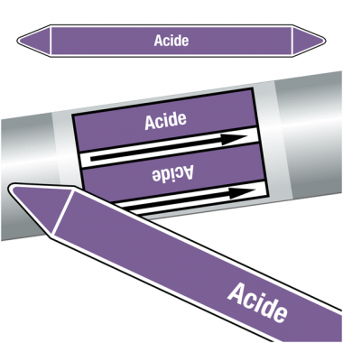 """Marqueurs de tuyauteries CLP """"Acide"""" (Acides et bases)"""