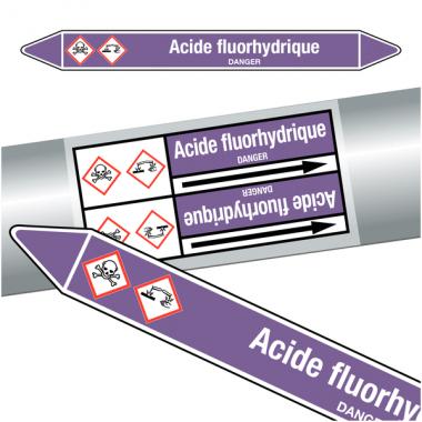 """Marqueurs de tuyauteries CLP """"Acide fluorhydrique"""" (Acides et bases)"""