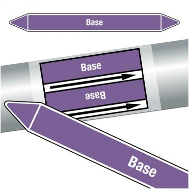 """Marqueurs de tuyauteries CLP """"Base"""" (Acides et bases)"""