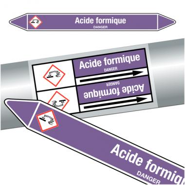 """Marqueurs de tuyauteries CLP """"Acide formique"""" (Acides et bases)"""
