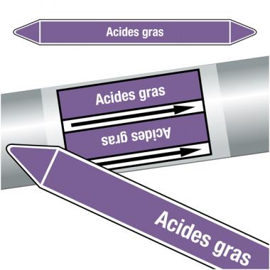 """Marqueurs de tuyauteries CLP """"Acides gras"""" (Acides et bases)"""